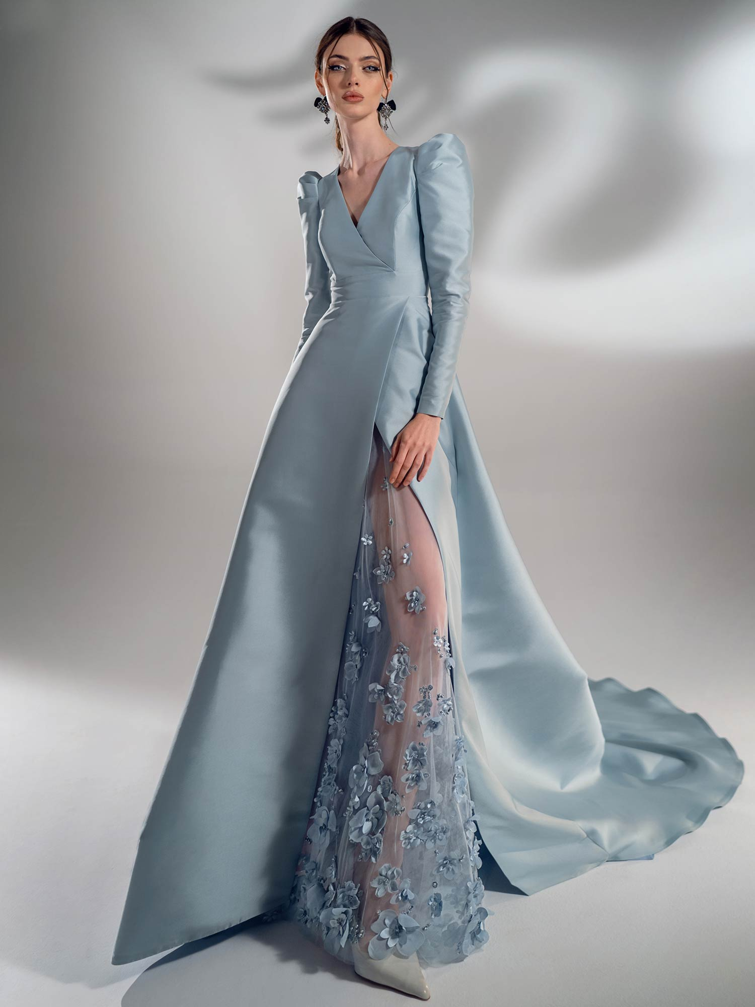Style #2115, Mikado A-line wedding dress with long sleeves, available in grey-blue, ivory