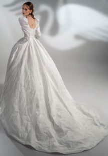 Style #2119, jacquard A-line wedding dress with long sleeves, available in ivory