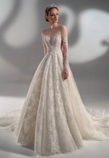 Style #2120, beaded lace ball gown with long sleeves, available in ivory