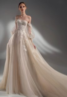 Style #2121, off the shoulder A-line wedding dress with detachable sleeves, available in cream–nude, ivory
