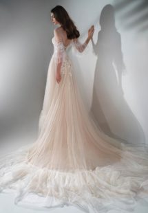 Style #2122, three-quarter sleeve A-line wedding dress with ruffles, available in cream-nude, ivory