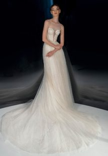Style #2123, sparkly A-line wedding dress with bustier top, available in cream
