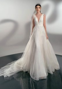 Style #2127a, A-line wedding dress with leaf embroidery, available in ivory