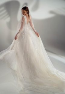 Style #2127b, puff sleeve A-line wedding dress with leaf embroidery, available in ivory