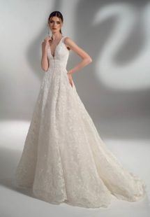 Style #2128a, sparkly lace ball gown wedding dress with V-neck, available in cream