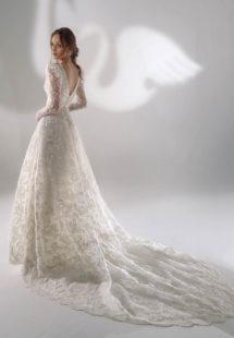 Style #2128b, sparkly lace ball gown wedding dress with long sleeves, available in cream