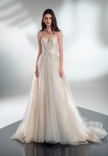 Style #2129, A-line wedding dress with beaded embroidery, available in cream