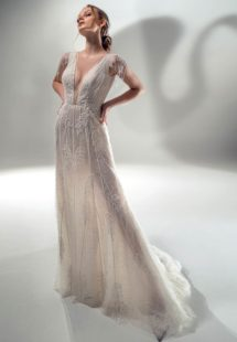 Style #2131, sparkly sheath wedding dress with V-neck, available in ivory