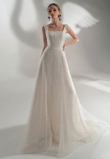 Style #2132, A-line wedding dress with square neckline, available in ivory