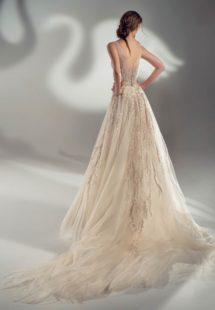Style #2135, off the shoulder ball gown wedding dress with beaded embroidery, available in cream-nude, cream