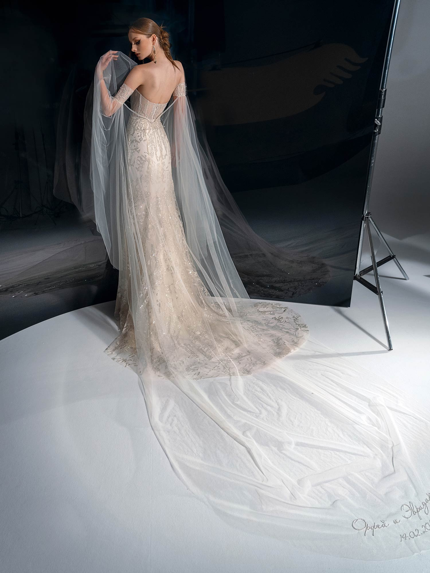 Style #2137, beaded lace sheath wedding dress with sweetheart neckline, available in cream-nude, cream