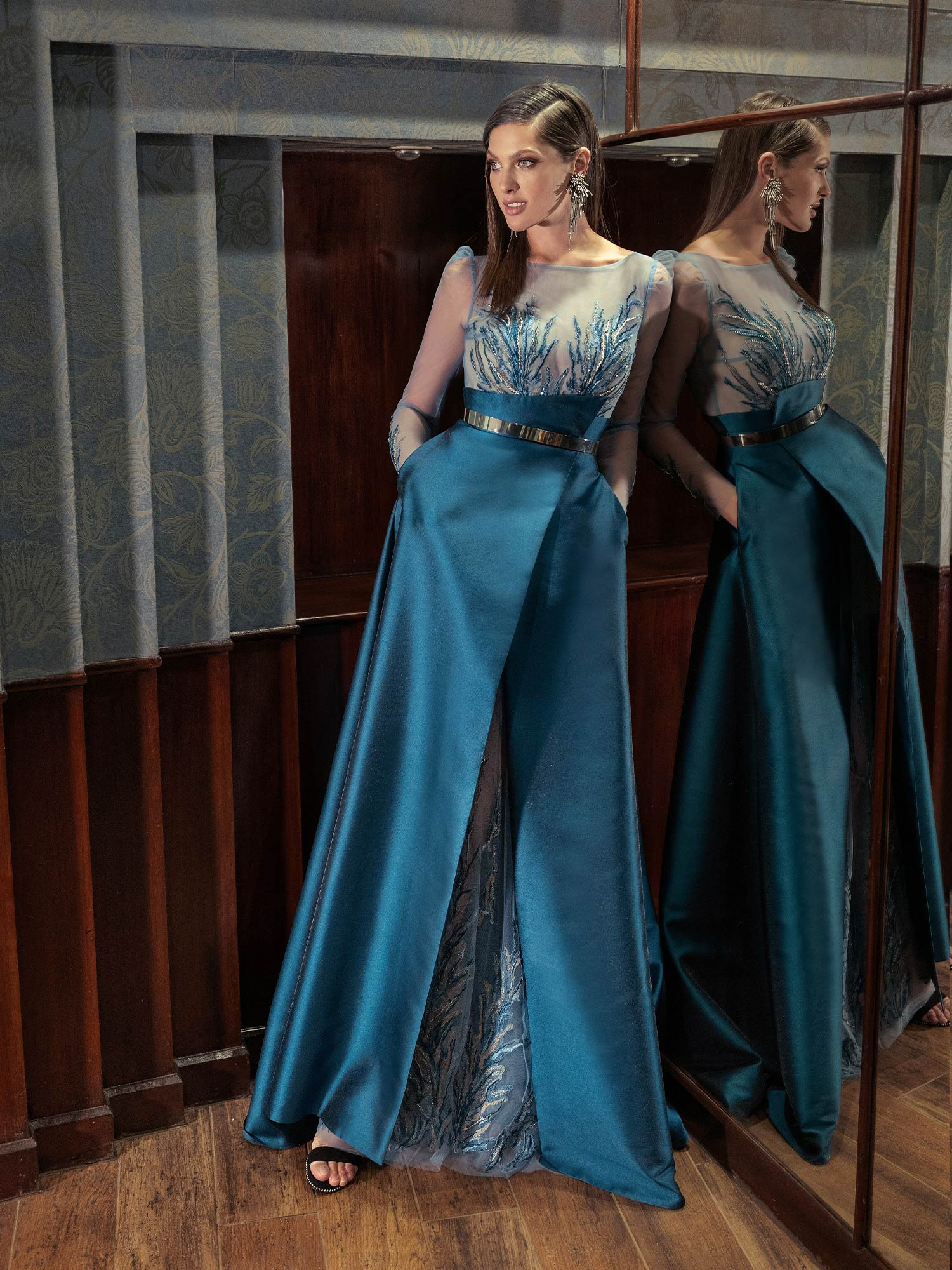 Style #615b, available in ivory, grey-blue, lilac, sea-green