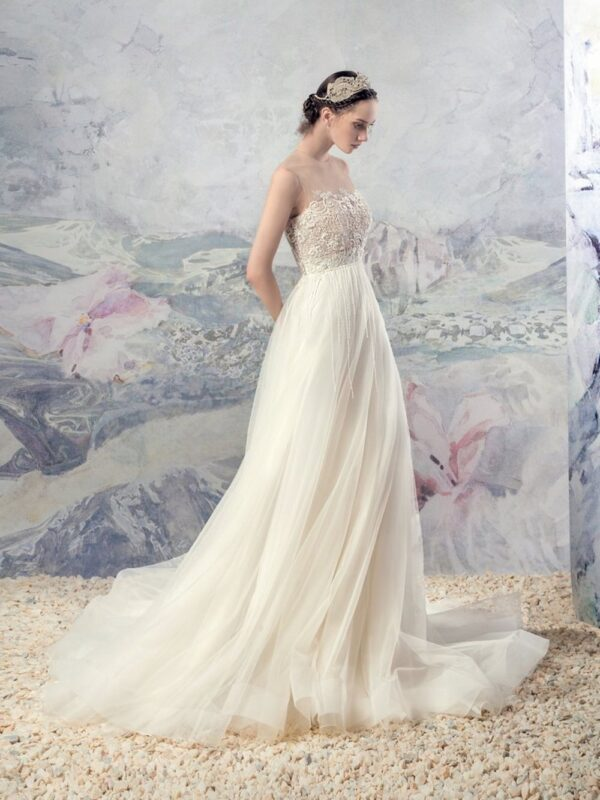 Boho A-line wedding dress with illusion neckline and beaded strings