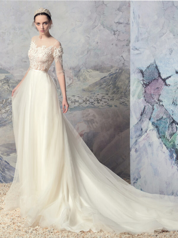 3/4 sleeve A-line wedding dress with lace top and simple tulle skirt