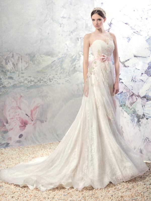 Sleeveless A-line wedding dress with illusion neckline and flower decor