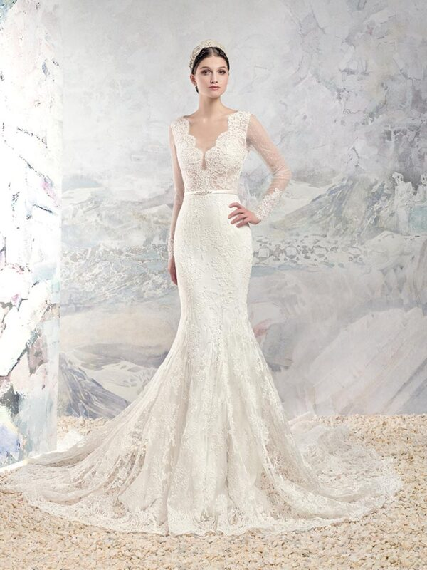 Long sleeve fit and flare wedding dress with V-neck and open V-back