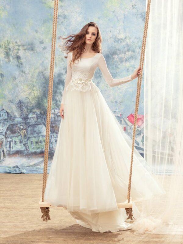 Long sleeve ball gown wedding dress with peplum style bodice