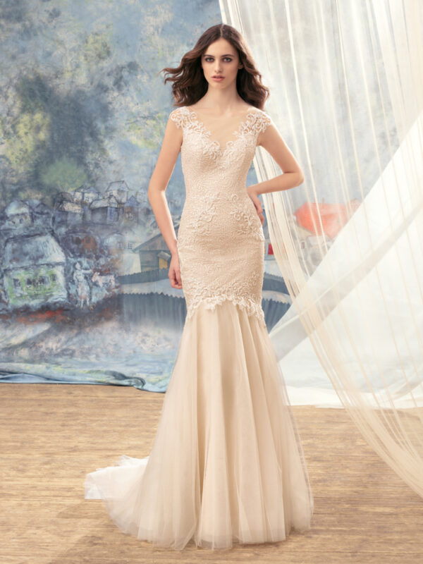 Beaded lace mermaid wedding dress with open back