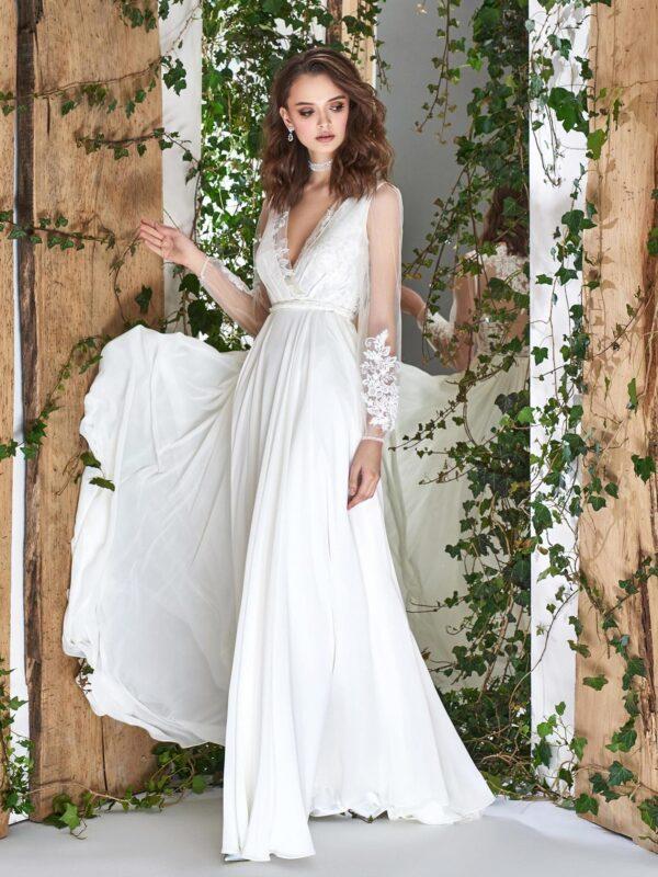 Long sleeve sheath wedding dress with V-neck and illusion lace back