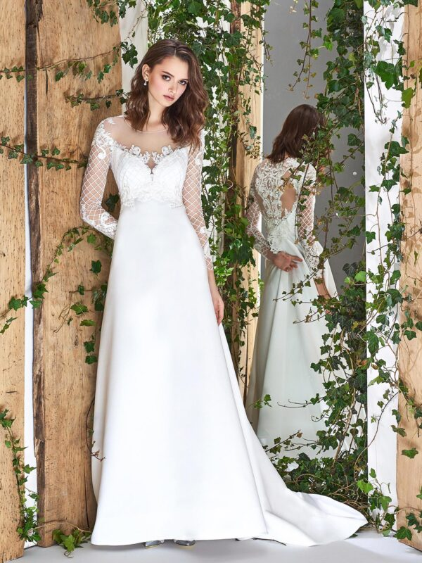 Satin A-line wedding dress with long sleeves