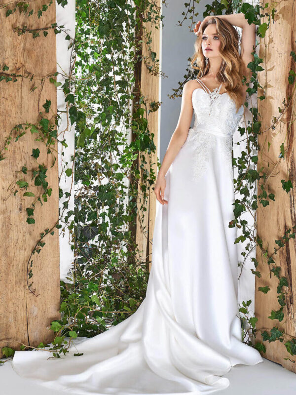 Satin A-line wedding dress with spaghetti straps and lace decor
