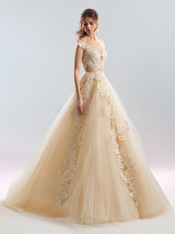 Polka-dot lace A-line wedding dress with plunging neckline