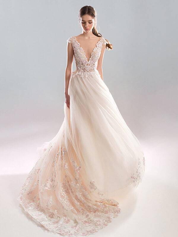 A-line wedding dress with plunging neckline , open back and pink lace decor