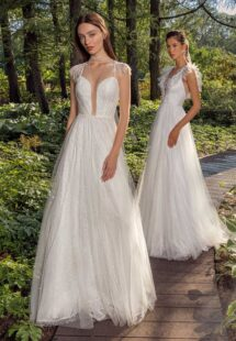 Style #13016, available in ivory; Style #13003, available in white