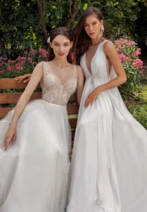 Style #13018, available in ivory-nude, ivory; Style #13001, available in ivory, peach, sky blue