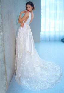 Style #2206L, ball gown wedding dress with floral lace skirt and atlas top, available in ivory