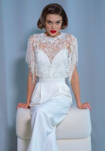 Style #2221-8, wide leg bridal jumpsuit with crochet lace top, available in ivory
