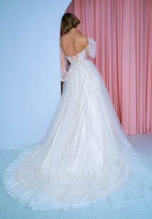 Style #2210L, shimmering lace A-line wedding dress with detachable puff sleeves, available in ivory, ivory-nude