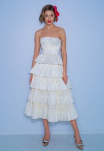 Style #2229a, tea-length wedding dress with taffeta tiers, available in ivory