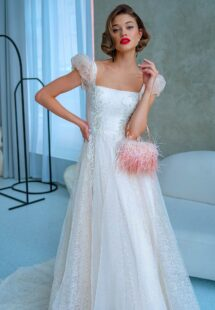 Style #2220L, floral lace A-line wedding dress with cap sleeves and square neckline top, available in dark ivory