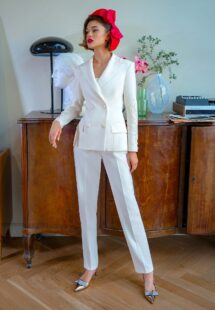 Style #2203-7, three-piece bridal pantsuit with top and jacket, available in ivory