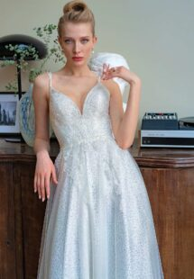 Style #2217L, sequinned lace A-line wedding gown with V-neck and double spaghetti straps, available in ivory