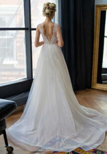 Style #2202L, A-line wedding dress with V-plunging neckline and flower embroidery, available in ivory