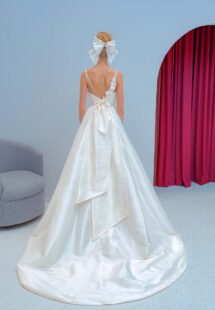 Style #2219L, Taffeta ball gown wedding dress with spaghetti straps and 3D floral decor, available in ivory