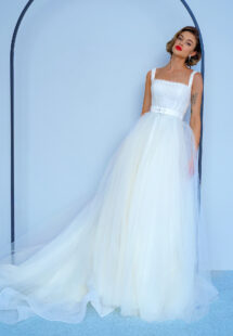 Style #2213, ball gown wedding dress with beaded square neck top and belt, available in ivory