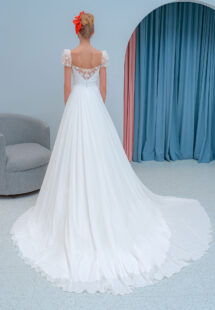 Style #2218L, chiffon sheath wedding dress with embroidered cap sleeves and beaded back, available in ivory
