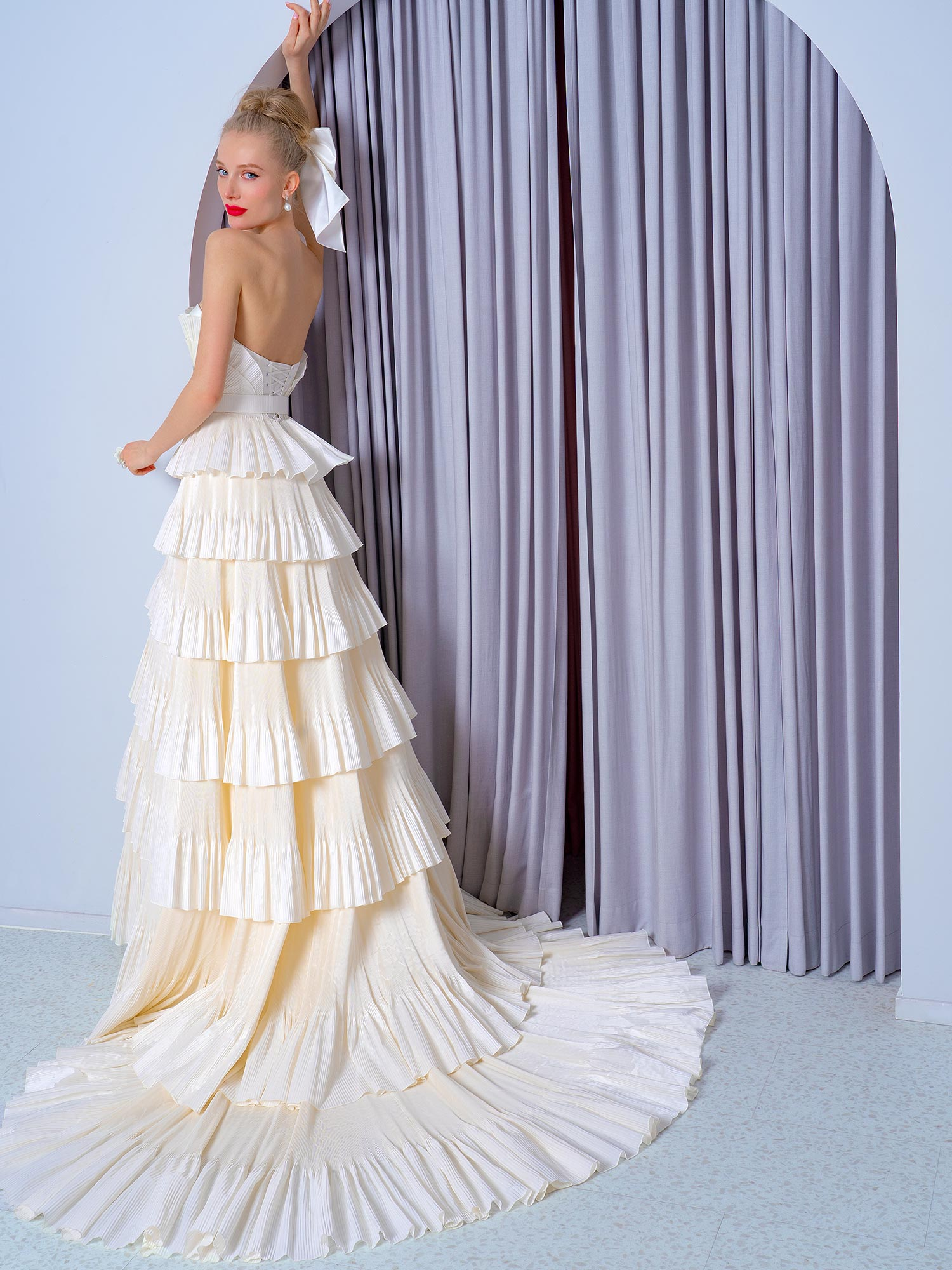 Style #2229b, Taffeta tiered A-line wedding dress, available in ivory