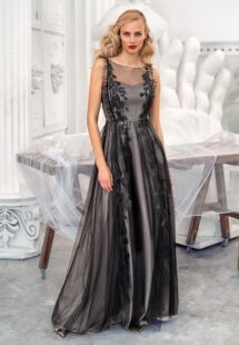 Style #629b, A-line evening dress with floral decor and cascading ruffle trim; available in midi or maxi length; in black