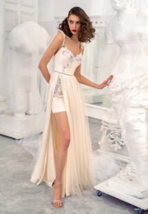 Style #630, spaghetti strap cocktail dress with a dramatic front slit; available in dark ivory