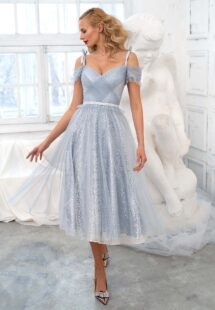 Style #631a, off the shoulder A-line dress with a sequinned lace layer; available in midi or maxi length; in grey-blue, powder pink, ivory