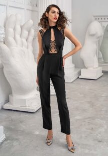 Style #634-8, high-neck jumpsuit with beaded bodice and pockets; available in black, red, turquoise, dark blue, lilac, lilac-brown, pink