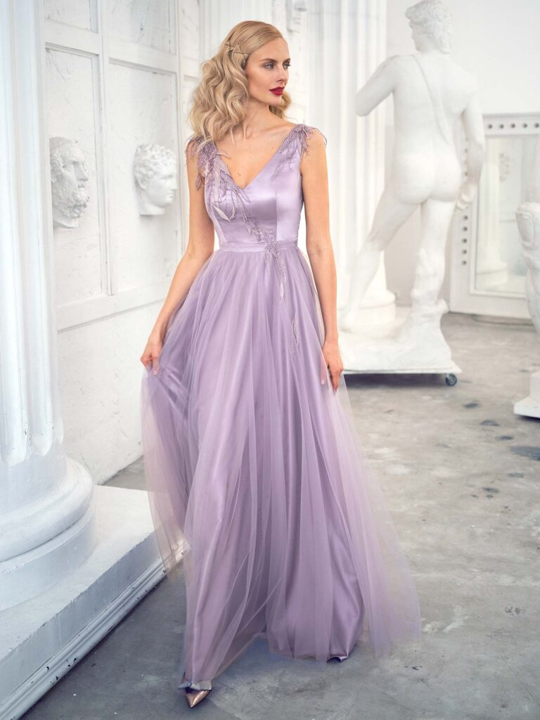 Style #635b, tulle A-line evening gown with V-neckline and floral embroidery; available in midi or maxi length; in purple, grey-blue, ivory, powder, cherry, black, nude