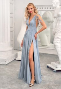 Style #636, sheath evening gown with V-neck and flutter sleeves; available in dusty-turquoise, ivory, cherry, grey-blue, azure, yellow, black, green