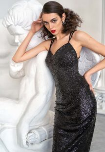 Style #638, sheath sequin dress with spaghetti straps and open back; available in silver, black