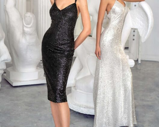 Style #638, sheath sequin dress with spaghetti straps and open back; Style #637, fitted sequin gown with spaghetti straps and open back; available in silver, black