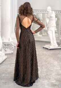 Style #639b, long-sleeve A-line gown with the embellished geometric pattern; available in midi or maxi length; in black-powder, black-nude